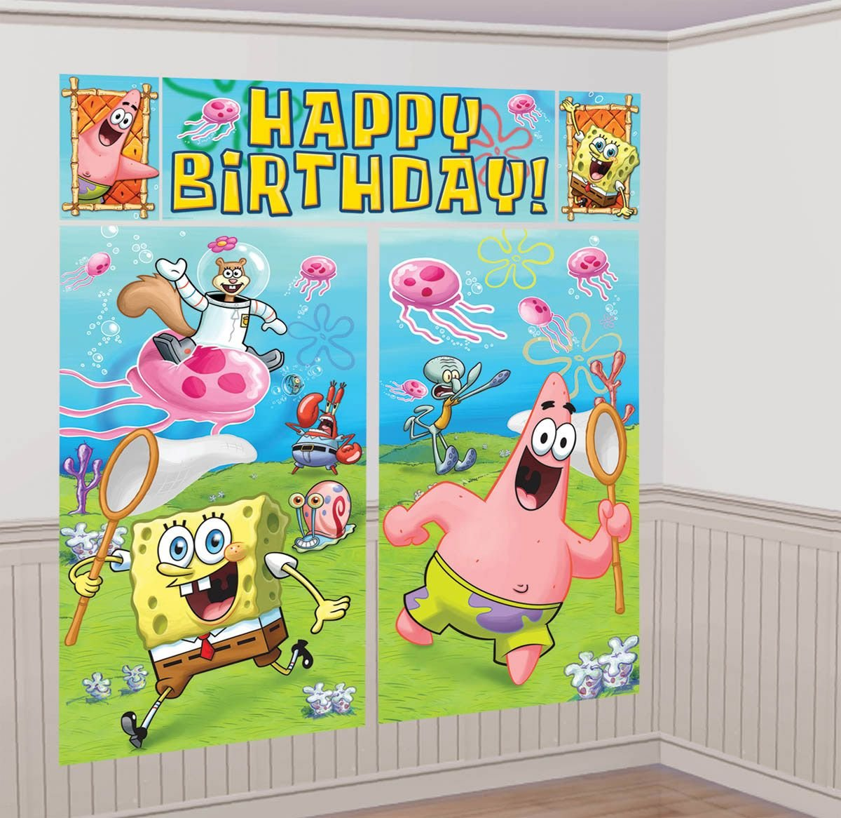 Deluxe Spongebob Squarepants Birthday Party Supplies Pack For 16 With Dinner and Dessert Plates Napkins Cups and Exclusive Pin Pineapple Swirls Tablecover Add-An-Age Banner Cutlery