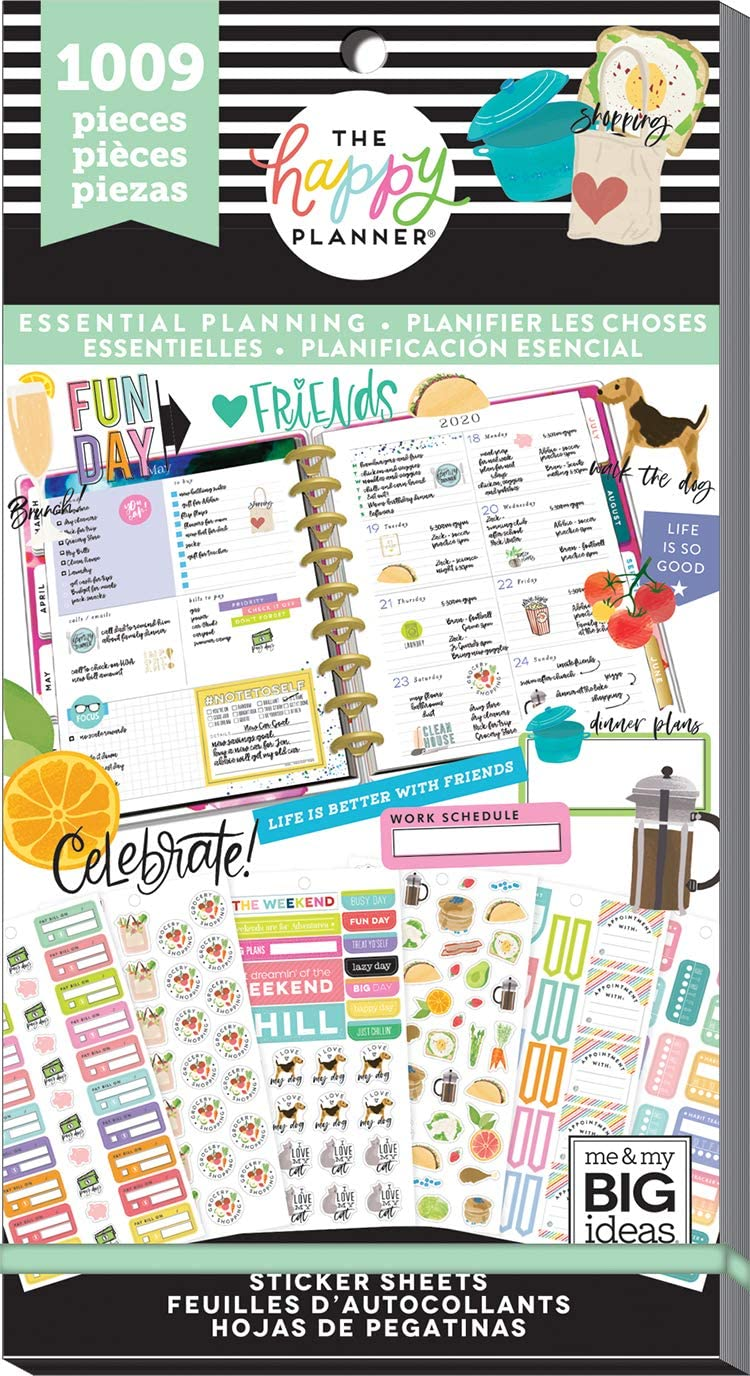 me & my BIG ideas Sticker Value Pack - The Happy Planner Scrapbooking Supplies - Essential Planning Theme - Multi-Color - Great for Projects, Scrapbooks & Albums - 30 Sheets, 1009 Stickers Total