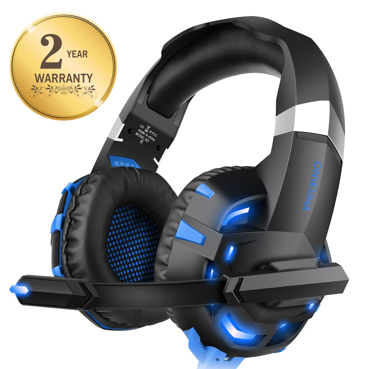 f5c39af618b Xbox one Headset for PS4, WILLNORN K2 Gaming Headset with Mic Noise  Cancelling Over Ear Headphones for PS4, PC Controller, Laptop, LED Light,  Stereo Sound ...