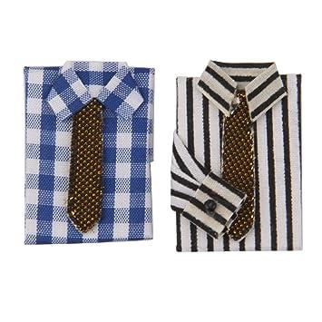 Amazon.es: 2pcs 1/12 Camiseta con Corbata Miniatura Accesorio ...