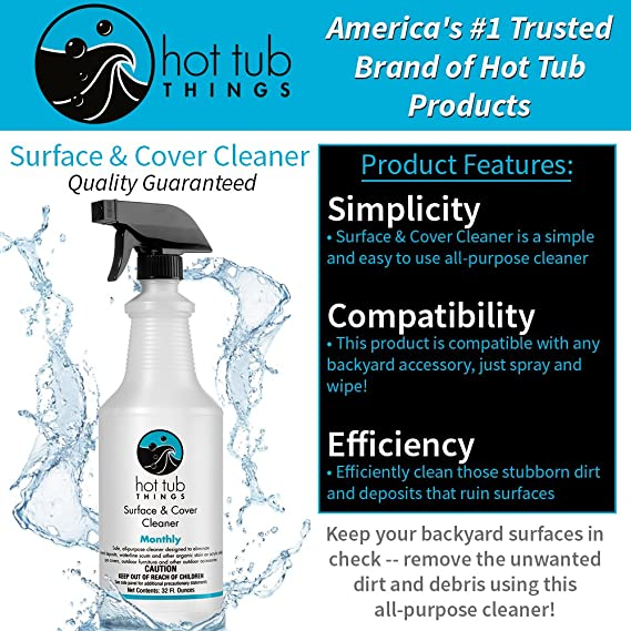 Amazon.com: Hot Tub Things Surface & Cover Cleaner 32 Ounce - All ...