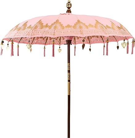 Butlers Oriental Lounge - Sombrilla de 180 cm de diámetro – Protección Solar de 100% algodón – Sombrilla de jardín Höhe 225 cm, Ø 180 cm, Stab: Ø 38 mm Color Rosa.: Amazon.es: Hogar