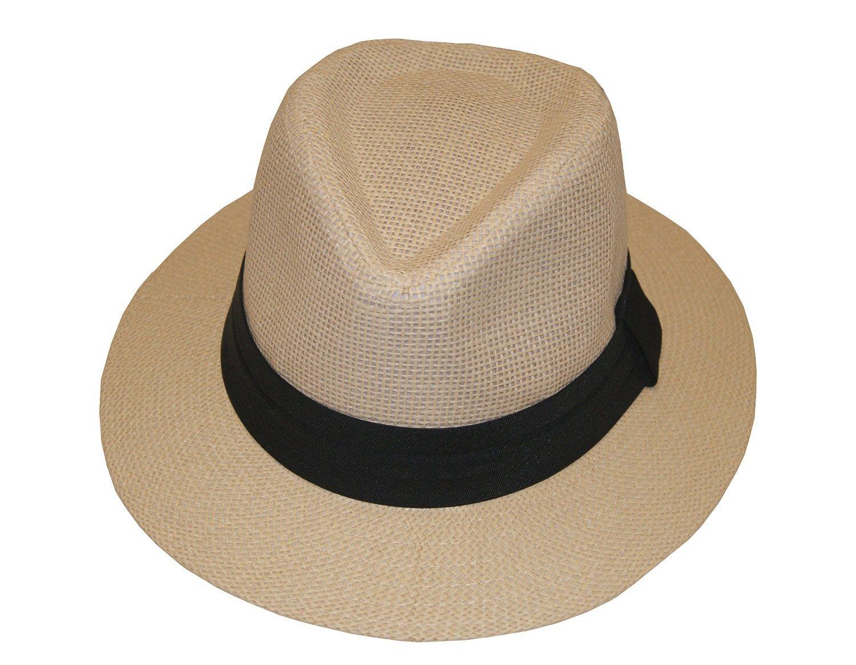 Fashion Man Summer Golf Sun Hat Panama Cap - Brand New (Beige, 59cm)