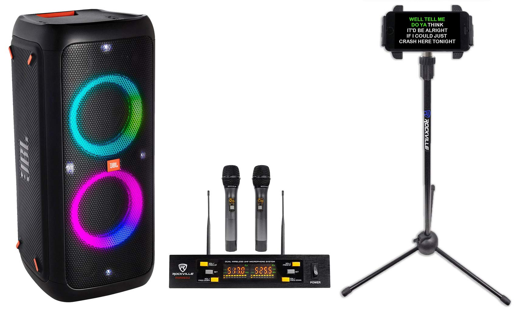 JBL Partybox 300 Rechargeable Bluetooth LED Karaoke Machine System w/Mics+Stand
