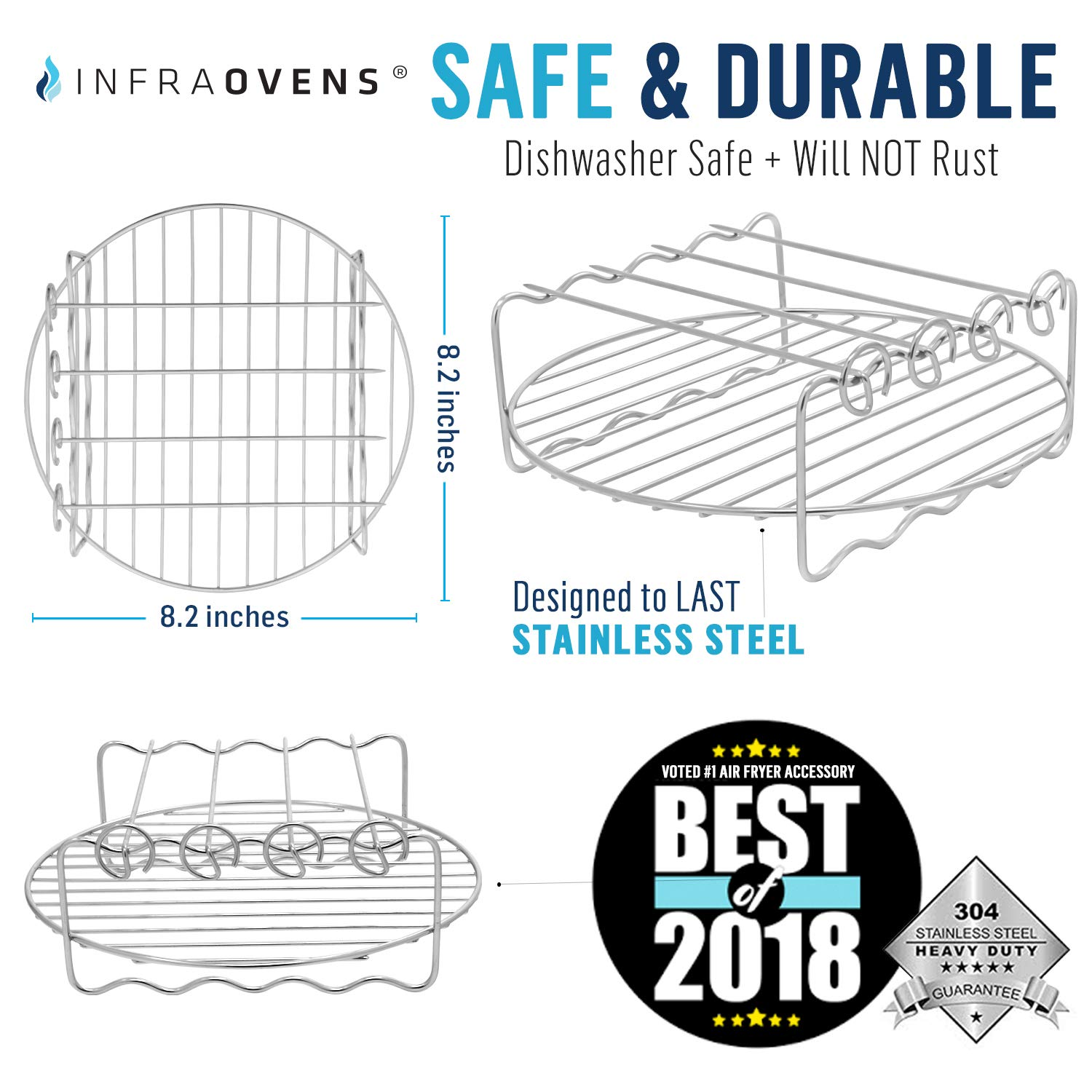 Black+Decker Power Airfryer GoWise Cozyna Chefman Air Fryer Rack Accessories Set Compatible with Philips Ninja Foodi Secura Farberware Emerald +More Deep Fryers /& Up by Infraovens