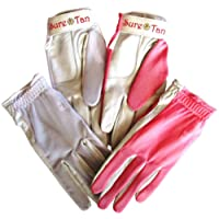 4 Ladies Sure Tan Cabretta Leather Palm Golf Gloves Pink & White