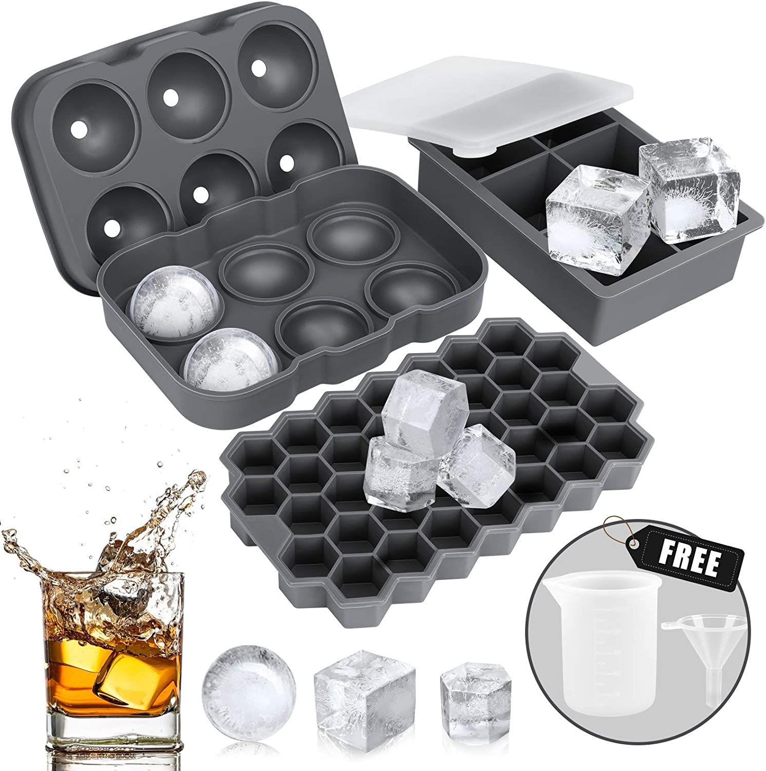 Ice Cube Tray, AiBast Ice Trays for Freezer With Lid, 3 Pack Silicone Large Round Ice Cube Tray, Sphere Square Honeycomb Ice Trays for Whiskey With Covers&Funnel,Reusable Whiskey Ice Ball Mold Grey
