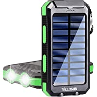 Solar Charger 20000mAh,YELOMIN Portable Outdoor Mobile Power Bank,Camping Travel External Backup Battery Pack Dual USB…