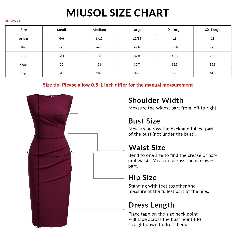 Miusol Womens Retro Ruffle Style Slim Work Pencil Dress