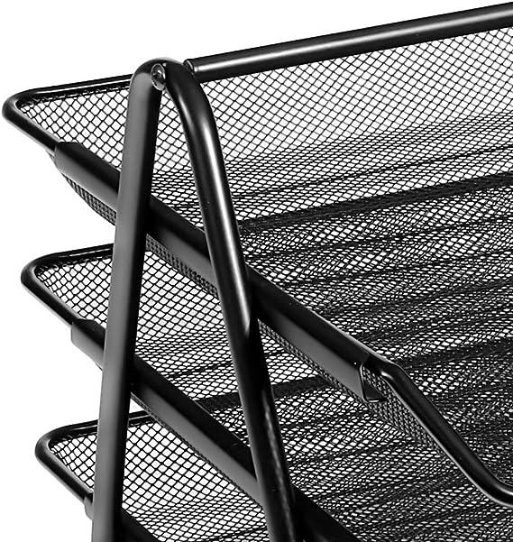 Mesh Letter Tray 3 Tier Scratch Resistant Stackable Front Load Portrait Foolscap Black