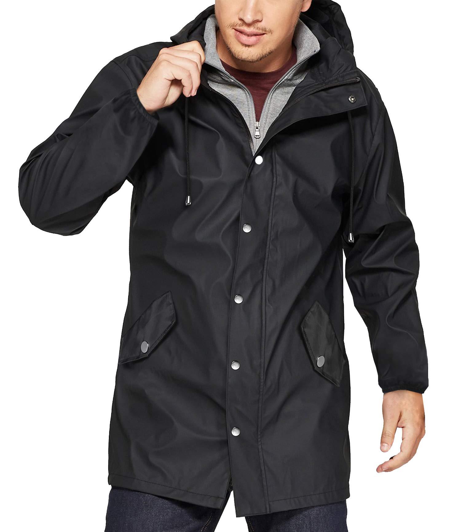 URRU Men's Long Sleeve Adjustable Drawstring Hood Functional Rain Coat Black M by URRU