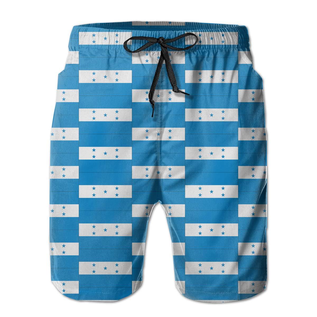 UHT28DG Flag Honduras Texture Pattern Mens Beach Shorts Fashion Beachwear