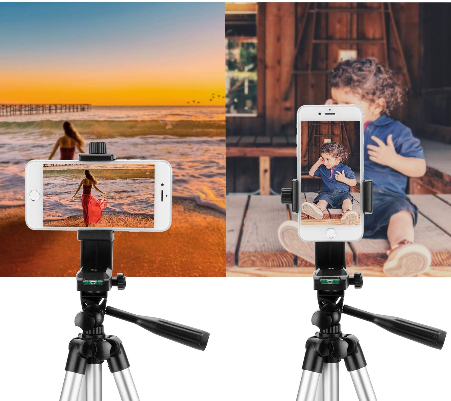 PEYOU Universal 360 Rotation Smartphone Holder Monopod Adapter Clamp Bracket Compatible for iPhone Xs Max XR X 8 7 6S 6 Plus for Galaxy Note 9 8 S10 S9 S8 Plus S10e Phone Tripod Mount with Remote