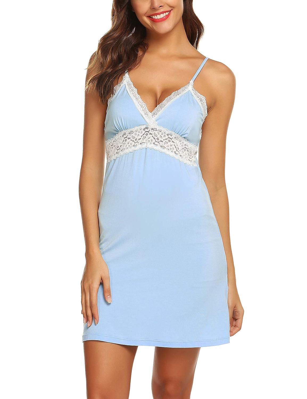 Clight bluee URRU Women's Nightgown Cotton Chemise Sleepwear Full Slip Lace Sling Lounge Dress SXXL