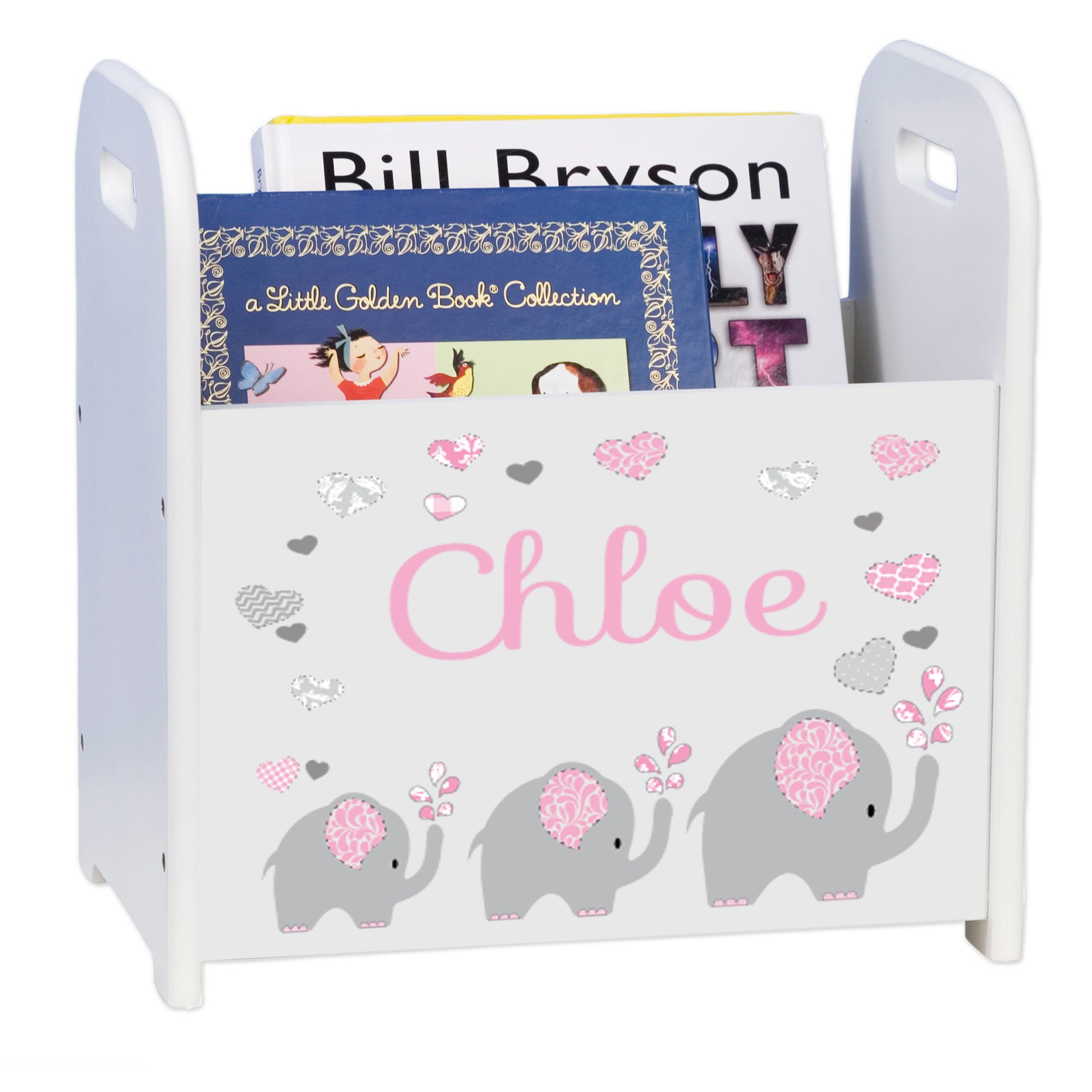 MyBambino Personalized Pink Elephant Book Caddy and Rack