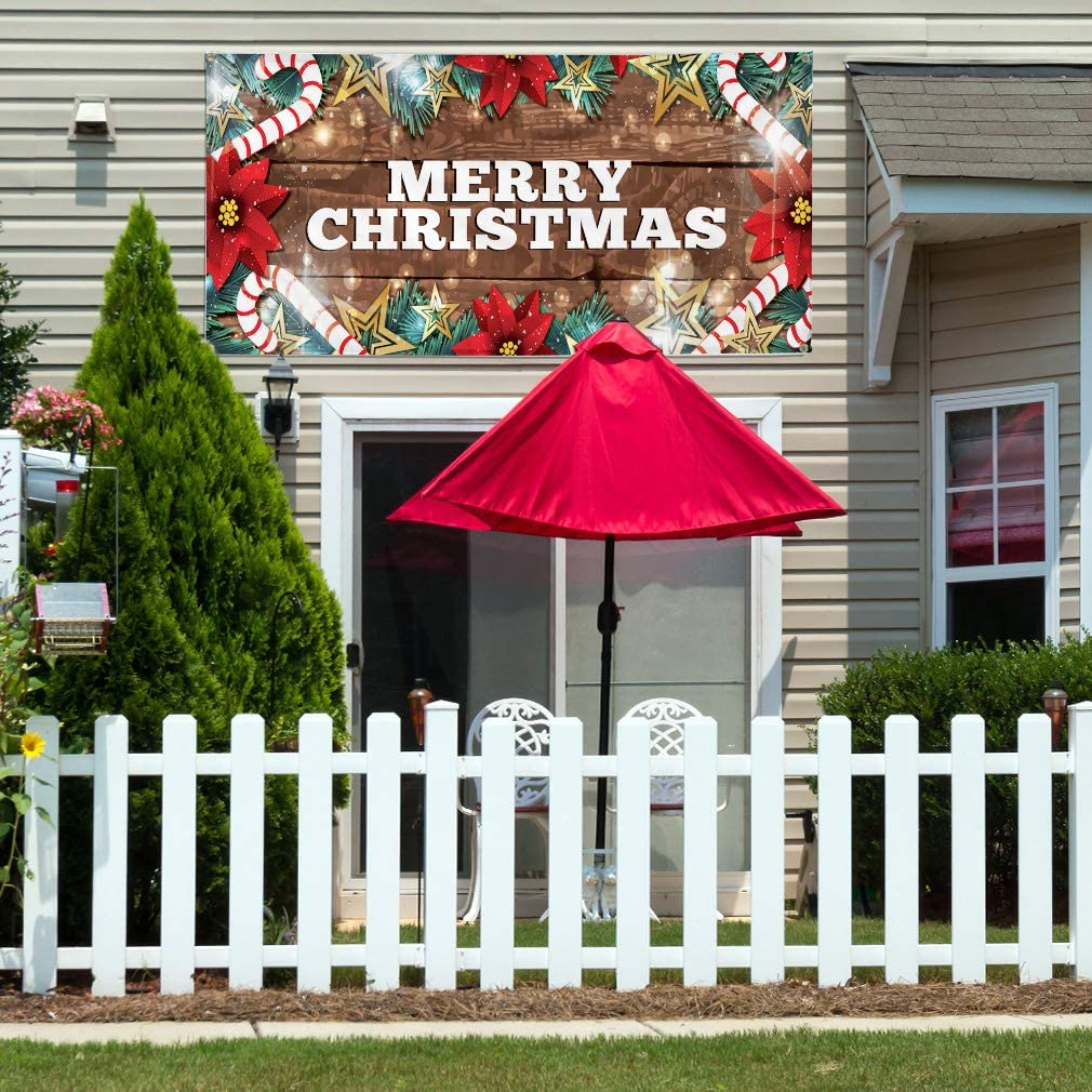 Vinyl Banner Multiple Sizes Merry Christmas Business B Holidays and Occasions Outdoor Weatherproof Industrial Yard Signs Brown 8 Grommets 48x96Inches