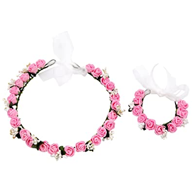 Buy sanjog Pink White Golden Rose Flower Crown and Hand Tiara Puff Wrap for  Girls Online at Low Prices in India  6eb810314e9