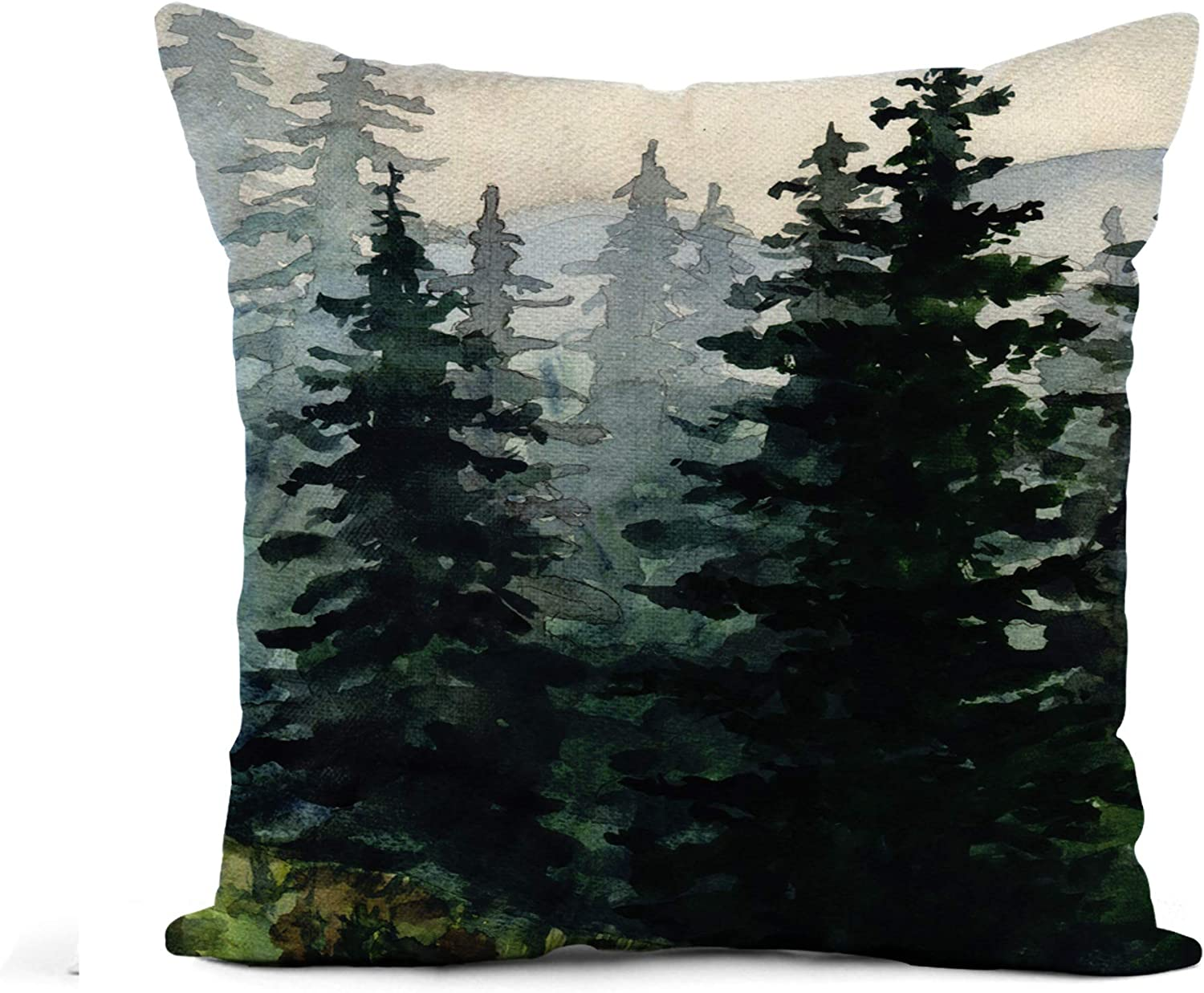 Awowee Flax Throw Pillow Cover Blue Winter Watercolor Landscape Pine Forest Mountains Alaska Artistic 16x16 Inches Pillowcase Home Decor Square Cotton Linen Pillow Case Cushion Cover