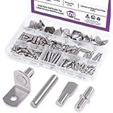 Swpeet 120Pcs 4 Styles Shelf Pins Kit, Top Quality Nickel Plated Shelf Bracket Pegs Cabinet Furniture Shelf Pins Support…