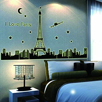 1 X Dupin (TM) I Love Paris Wall Decal Skyline Eiffel Tower Glow In Part 85