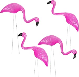 Small Pink Flamingos Yard Ornaments (4 Pack) Mini Flamingo Outdoor Garden Yard Lawn Decor, Flamingo Hawaiian Luau Party Decorations, Tropical Whimsical Beach Summer Supply by 4E's Novelty