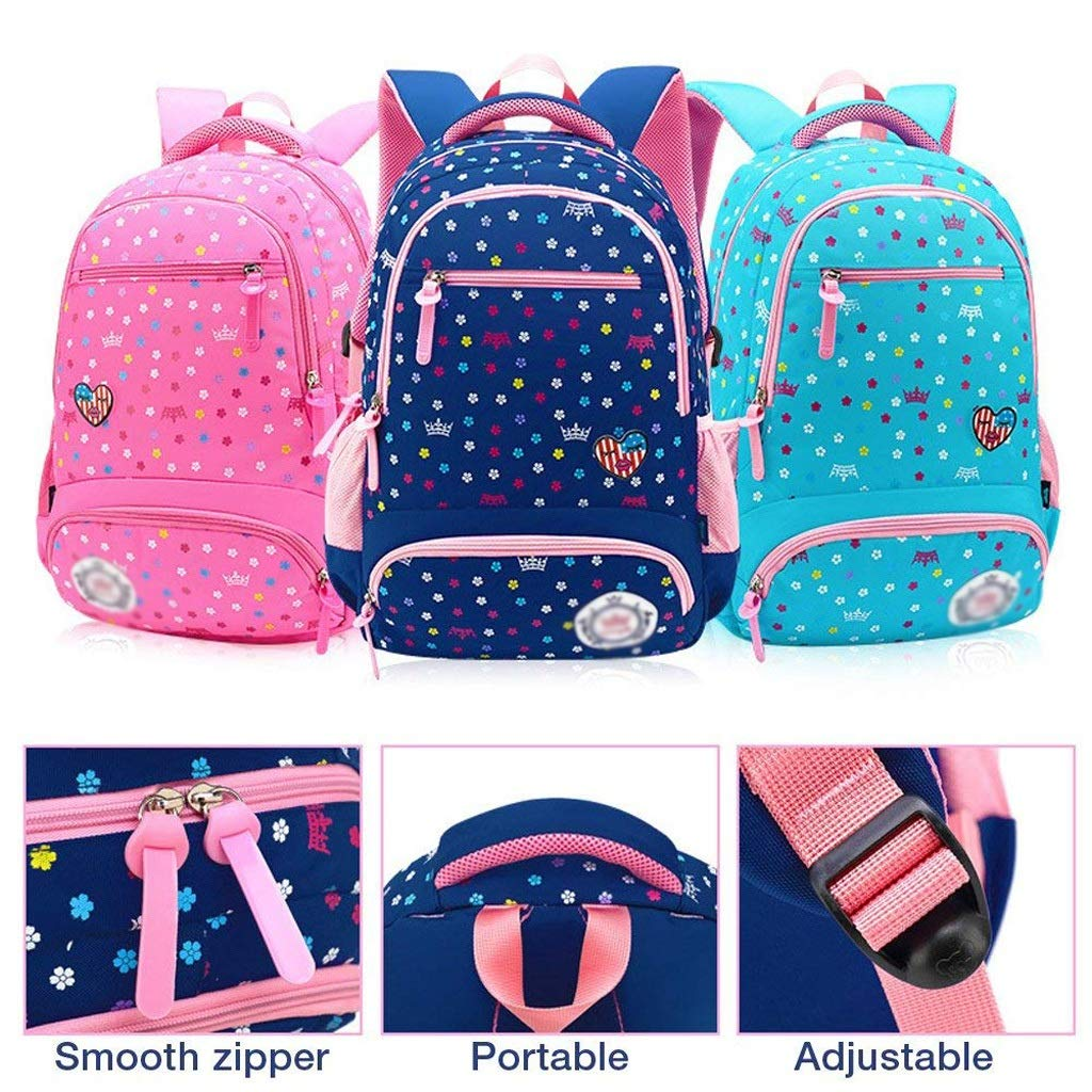 Amazon.com: XHHWZB Primary School Bag Backpack for Girls 7-12 Years Old, Waterproof Nylon Travel Rucksack Multi Compartment Kids Children Book Bag (Color ...