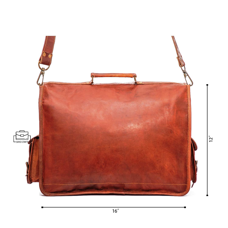 SAND CRAFT Mens Vintage Brown Leather Messenger Shoulder Laptop Bag 11x15x5 inch Brown