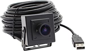 ELP Mini Aluminum Black Case USB Security Camera with 170degree Wide Angle Fisheye Lens and 3Meters USB Cable for Home Security and Machine Vision System