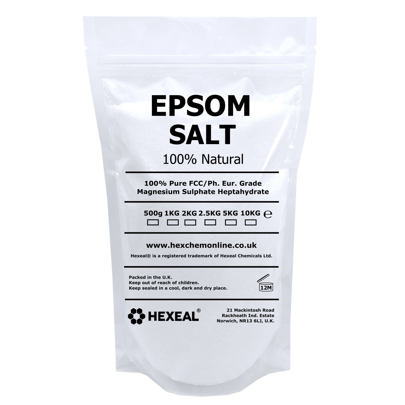 Hexeal EPSOM SALT | 1KG PREMIUM POUCH | 100% Natural | FCC Food Grade | Magnesium Sulphate Hexeal®
