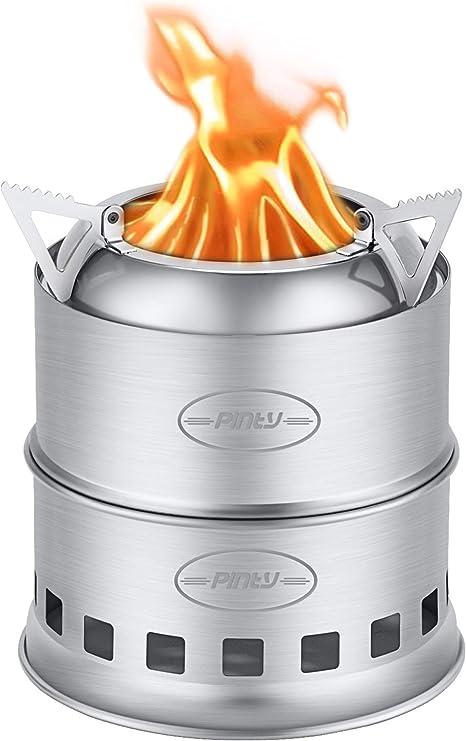 CO-Z Estufa de Leña de Acero Inoxidable para Cocina al Aire Libre Hornillo Portátil Multifuncional para Acampada, Sendersmo, Excursión, BBQ, etc.