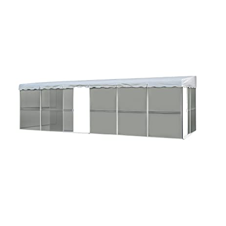Patio Mate 10 Panel Screen Enclosure 09322, White With Gray Roof