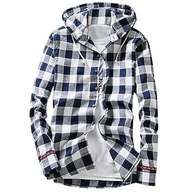 6afe0d7a43 Pishon Men s Long Sleeve Shirt Cotton Lightweight Hooded Plaid Button Up  Shirts