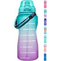 Giotto Large Half Gallon/64OZ Motivational Water Bottle with Paracord Handle & Straw - Leakproof Tritan BPA Free Fitness…