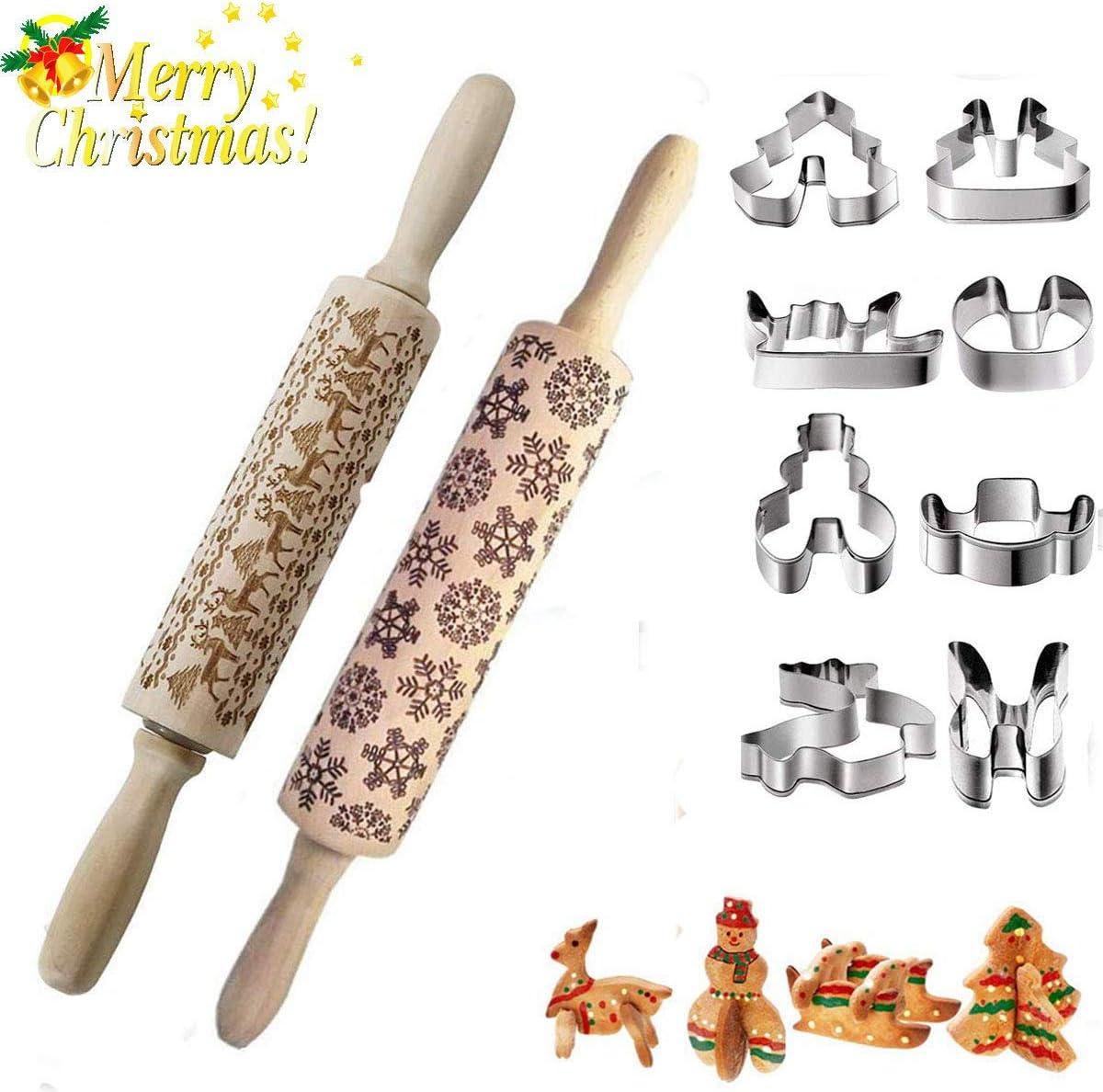 Kitchenmore Mattarelli incisi di Natale mattarello di goffratura in Legno 3D con Simboli a Tema Natalizio taglierina per Biscotti di Natale in Acciaio Inossidabile per Cottura