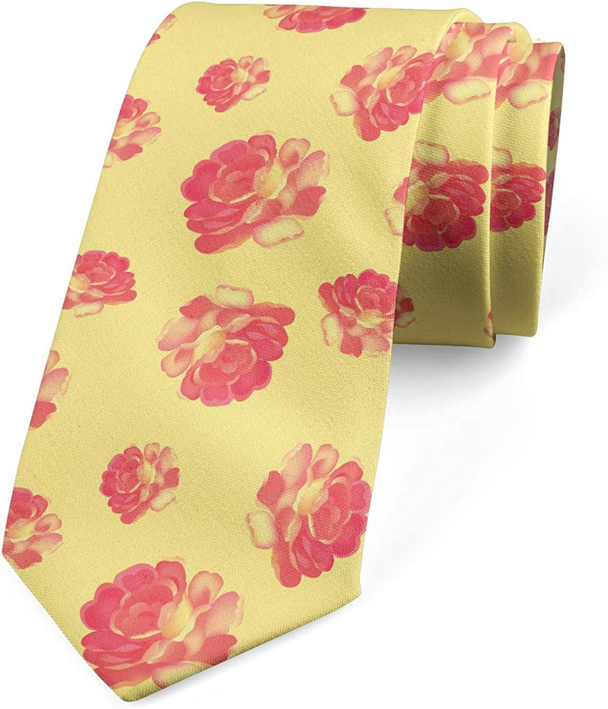 Ambesonne Necktie 3.7 Vintage Theme Feminine Petals Pastel Yellow and Coral