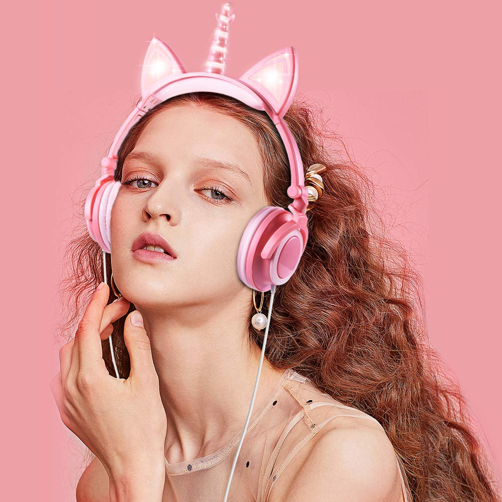 esonstyle Unicorn Kids Headphones, Over Ear with LED Glowing Cat Ears,Safe Wired Kids Headsets 85dB Volume Limited, Food Grade Silicone, 3.5mm Aux Jack.Cat-Inspired Headphones for Girls (Peach) by esonstyle (Image #2)