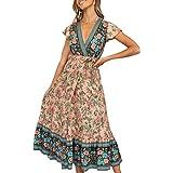 PRETTYGARDEN Women's Summer V Neck Wrap Vintage Floral Print Split Belted Flowy Boho Beach Long Dress