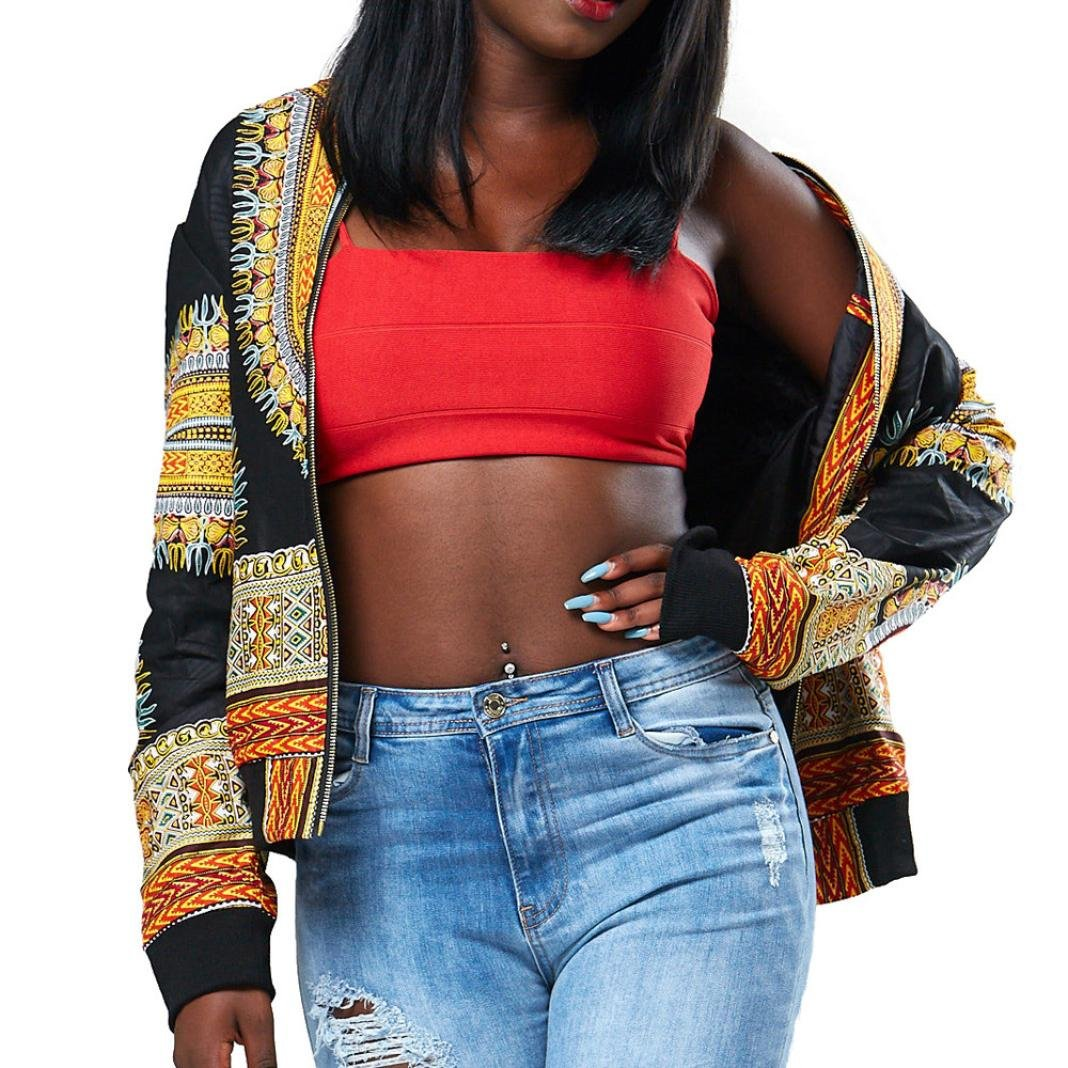 YOcheerful Women Long Sleeve African Print Dashiki Short Casual Jacket (M, Yellow)