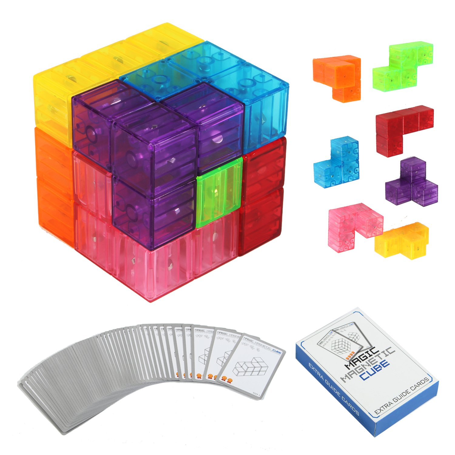 Magnetic Buliding Blocks Magic Magnetic Cube for Kids-7pcs Magnetic Bricks and 54 Smart Cards Braind Toy/Brainteaser Puzzles for Develop Kids Intelligence by VC-HOME