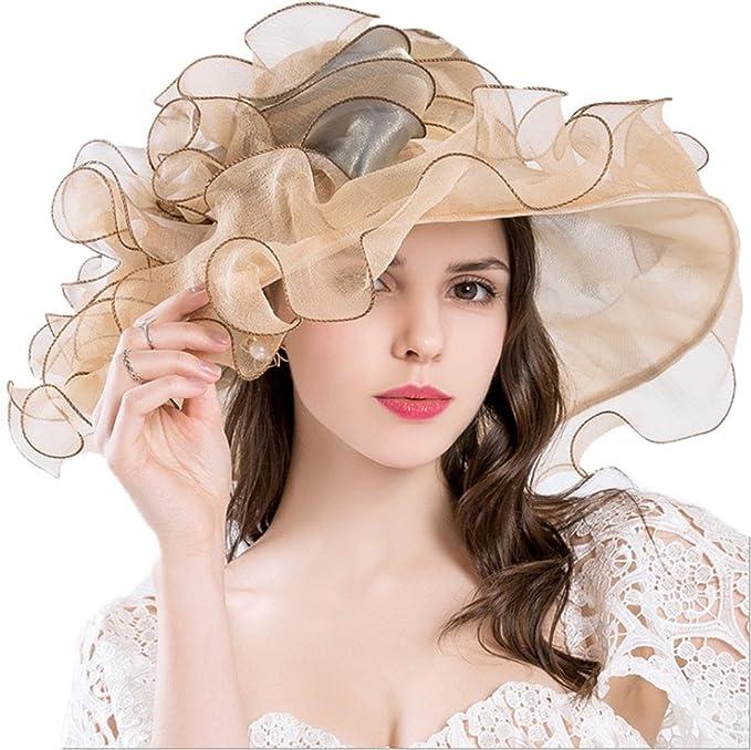 c7d028ef COSORO Foldable Women Organza Hat Summer Hat for Summer Sun Party Beach  Church Ascot Race Derby
