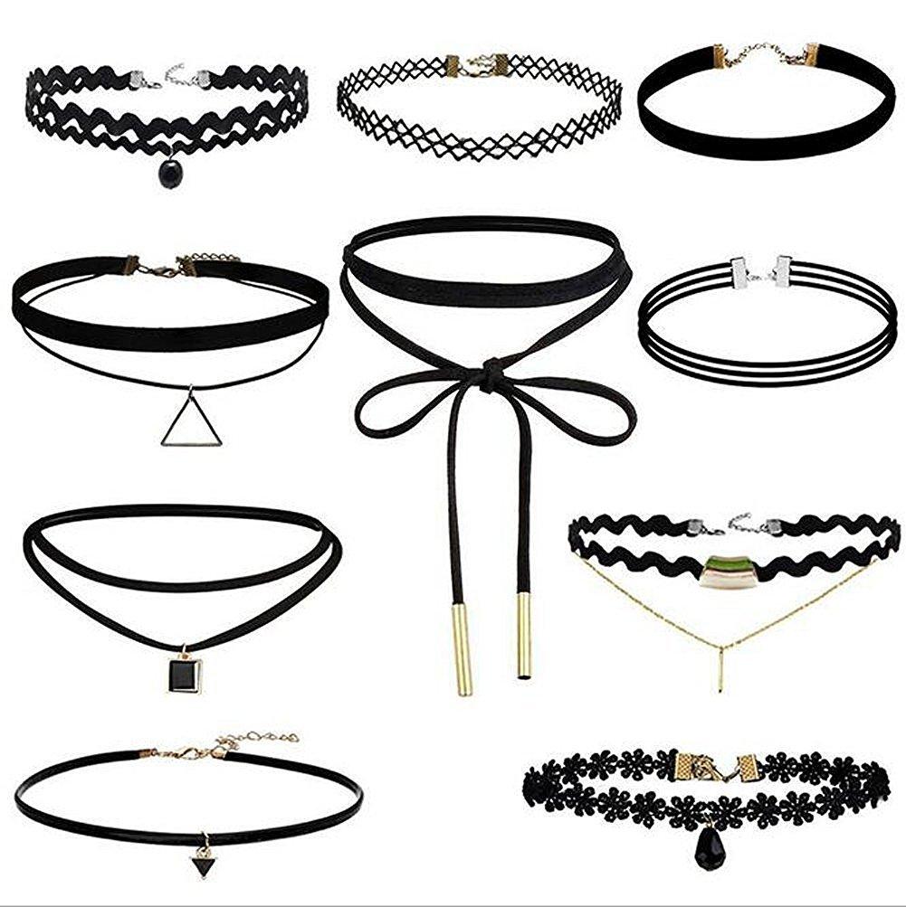 10 Pcs Choker Necklace for Women Girls, Black Classic Velvet Stretch Gothic Tattoo Lace by Elegant Rose HL1039