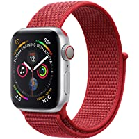 Nylon Sport Band for Apple Watch 44mm 42mm, Soft Replacement Strap for iWatch Series 4/3/2/1 (Red)