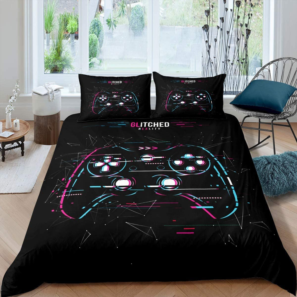 Boys Gamepad Bedding Set for Kids Gamer Gaming Bedding Twin Size, Game Controller Comforter Cover Teens Girls Adult Modern Youth Duvet Cover Games Console Bedspread Cover Room Decor 2Pcs