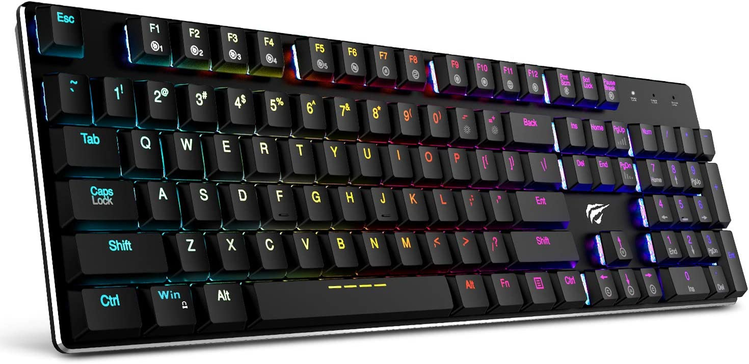 Amazon.com: Mechanical Keyboard HAVIT RGB Backlit Wired Gaming Keyboard Extra-Thin & Light, Kailh Latest Low Profile Blue Switches, 104 Keys N-Key Rollover HV-KB395L (Black): Computers & Accessories
