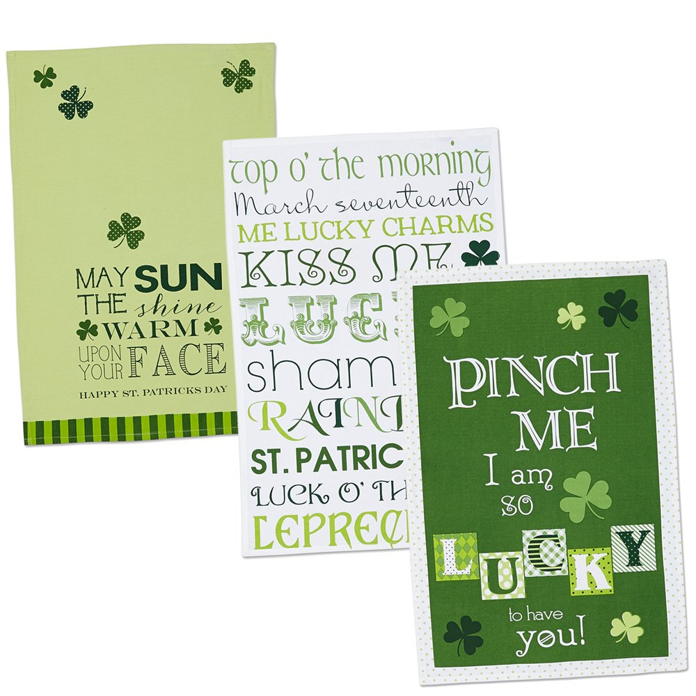 DII 100% Cotton, Oversized, Everyday Kitchen Basic, Printed Dishtowel, Welcome Holiday, 18x28, Set of 3- St Patrick's Day