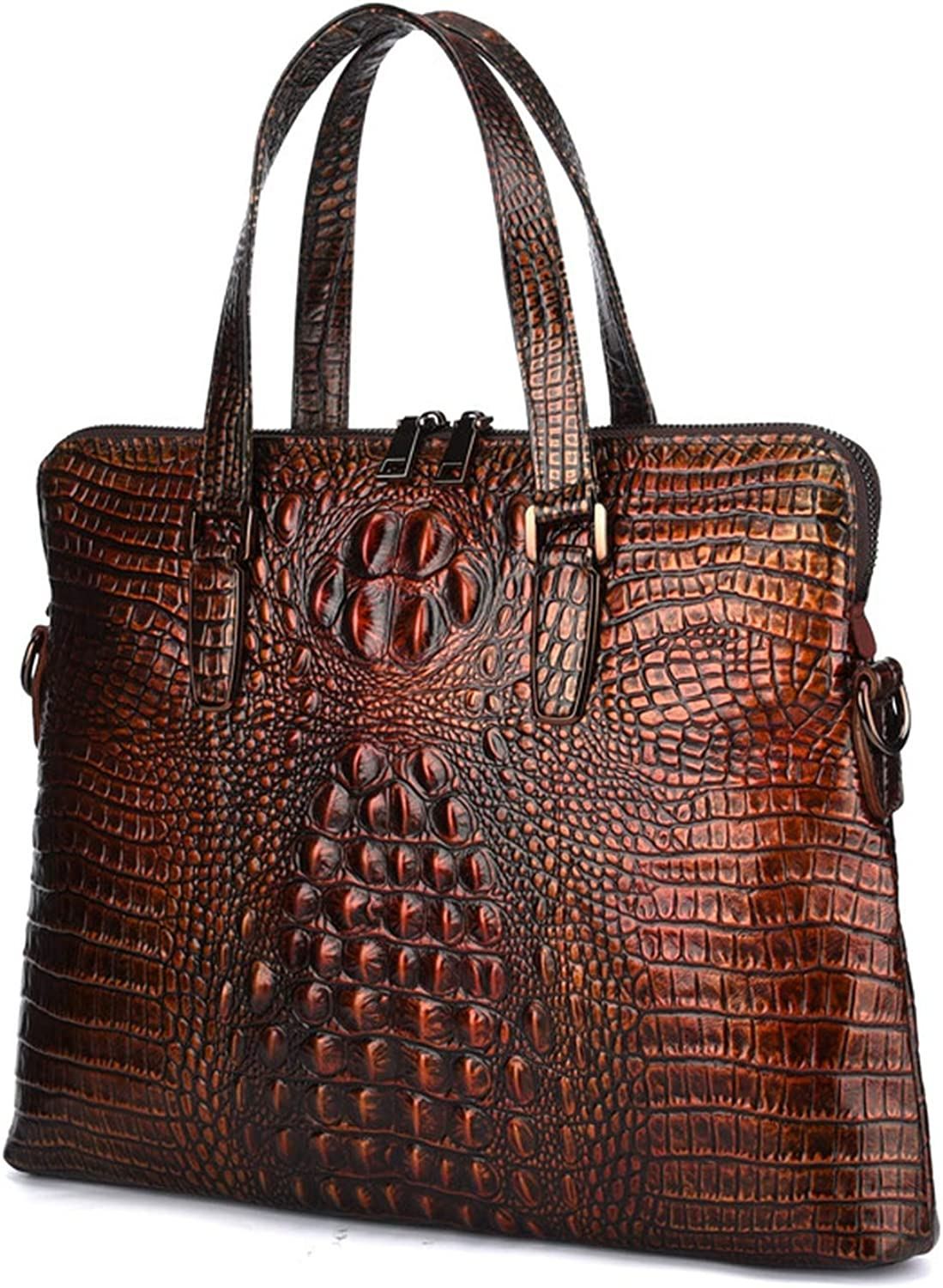 New Luxury Cow Genuine Natural Leather Business Mens Briefcase Male Briefcase Shoulder Bag Alligator Tote Computer Bag