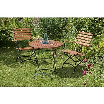 Merxx Salon de jardin Trieste 3 pièces en bois d\'eucalyptus, chaise ...
