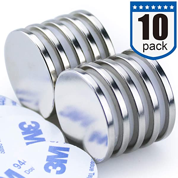 DIYMAG Powerful N52 Neodymium Disc Magnets, Strong, Permanent, Rare Earth Magnets. Fridge, DIY, Building, Scientific, Craft, and Office Magnets - 1.26D x 1/8H, Pack of 10 (Color: Silver)