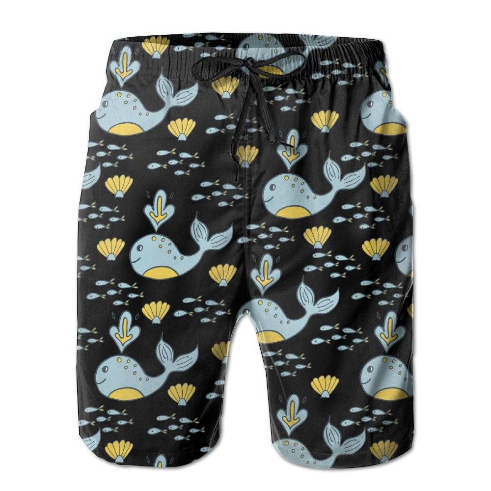 ZAPAGE Boys Blue Whale Quick Dry Lightweight Boardshort Printed Bathing Suits Swimming Trunks with Pocket