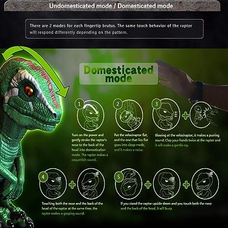 with Auto-sleep function,Energy saving optimization upgrade Childrens gift☃ Electronic Pets Finger Raptor,Dinosaur Velociraptor BURU,6MODE❤,Dinosaur toys,Electronic Interactive Dinosaur Blue//White 6MODE/❤ ZFITEI